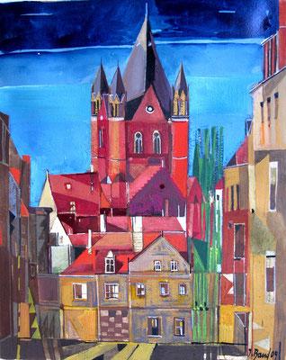 Pauluskirche, Radierung, koloriert, 25 x 20 cm