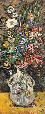 Wiesenblumen, 2013, Mischtechnik auf Holz, 40 x 16 cm