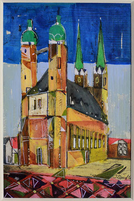 Halle, Marktkirche, Radierung, koloriert, 15 x 10 cm
