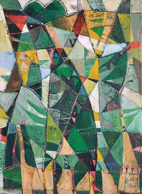Der grüne Hahn, 2014, Mischtechnik auf Leinwand, 40 x 30 cm