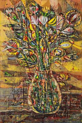 Blumen in Glasvase, 2020, Mischtechnik auf Leinwand, 60 x 40 cm