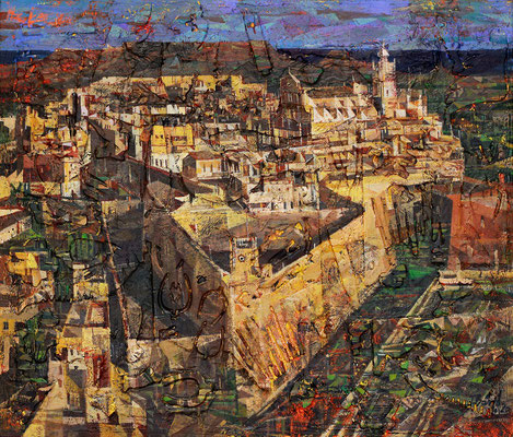 Zitadelle Victoria auf Malta, 2020, Mischtechnik auf Leinwand, 60 x 70 cm