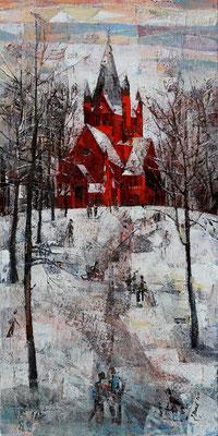 Hasenberg, 2011, Mischtechnik auf Leinwand, 100 x 50 cm