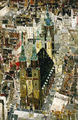 Der Markt, 1992, Mischtechnik auf Leinwand, 70 x 50