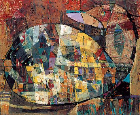 Gefüllte Gans, 1997, Mischtechnik auf Hartfaser, 60 x 80 cm