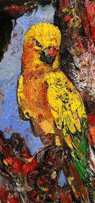 Papagei, 2012, Mischtechnik auf Hartfaser, 75 x 30 cm