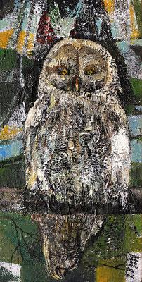 Schnee-Eule, 2013, Mischtechnik auf Holz, 30 x 15 cm