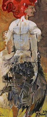 Das Federkleid, 2014, Mischtechnik auf Holz, 22 x 9 cm