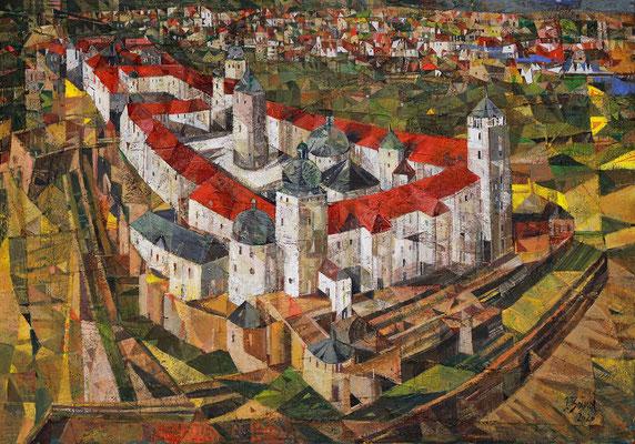 Festung Marienberg in Würzburg, 2020, Mischtechnik auf Leinwand, 70 x 100 cm