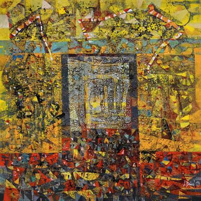 Die Pforte, 2019, Mischtechnik auf Leinwand, 80 x 80 cm