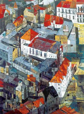 Theaterinsel, 1998, Mischtechnik auf Leinwand, 80 x 60 cm
