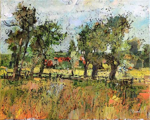 Rügener Landschaft, 2011, Mischtechnik auf Leinwand, 40 x 50 cm