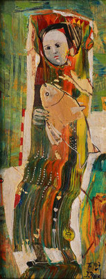 Mädchen mit Fisch, 2007, Mischtechnik auf Holz, 23 x 10 cm