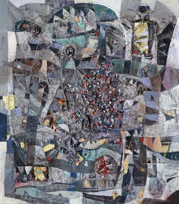 Ogoh Ogoh, 2014, Mischtechnik auf Leinwand, 80 x 70 cm
