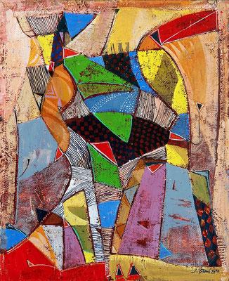 Ungeahnte Verbindung, 2010, Mischtechnik auf Hartfaser, 28 x 20 cm