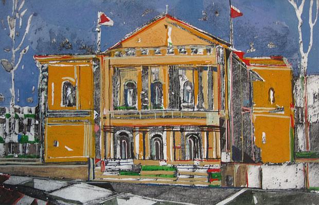Opernhaus, Radierung, koloriert, 10 x 15 cm