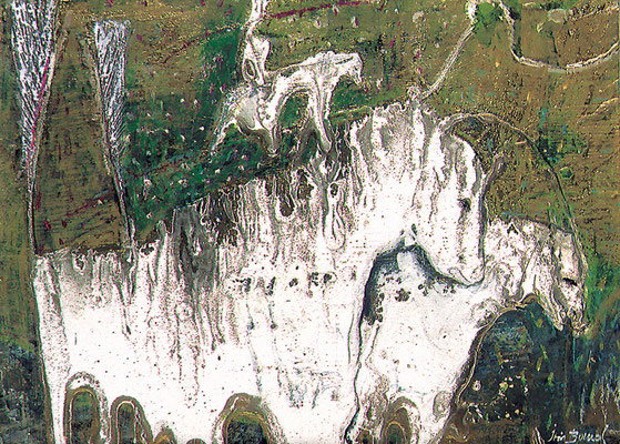 Koppel der 3 weißen Pferde, 1990, Mischtechnik auf Hartfaser, 20 x 30 cm