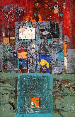 O. T., 2008, Mischtechnik auf Holz, 40 x 20 cm