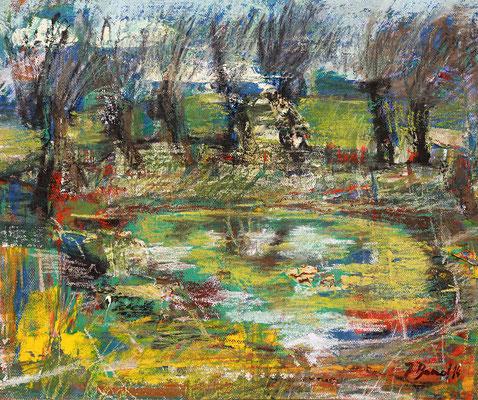 Weiher mit Weiden, 2014, Pastell auf Hartfaser, 25 x 30 cm