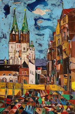 Hallmarkt, Radierung, koloriert, 30 x 20 cm