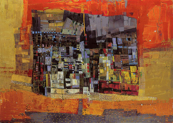 Das rote Segel, 1998, Acryl, Öl auf Leinwand, 100 x 120 cm
