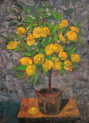 Zitronenbaum, 2013, Mischtechnik auf Hartfaser, 70 x 50 cm