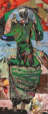 Die Gottesanbeterin, 2015, Mischtechnik auf Holz, 28 x 12 cm