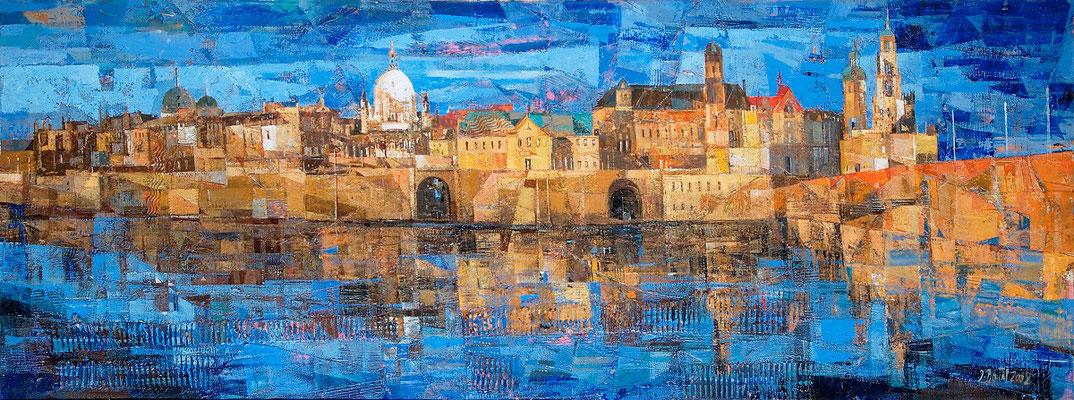 Dresden, Panorama, 2008, Mischtechnik auf Leinwand, 60 x 170 cm