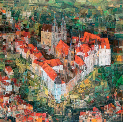 Burgberg, 2008, Mischtechnik auf Leinwand, 100 x 100 cm