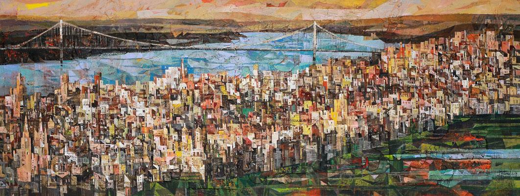 New York, 2019, Mischtechnik auf Leinwand, 80 x 210 cm