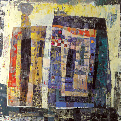 Hoher Besuch, 1999, Mischtechnik auf Leinwand, 160 x 160 cm