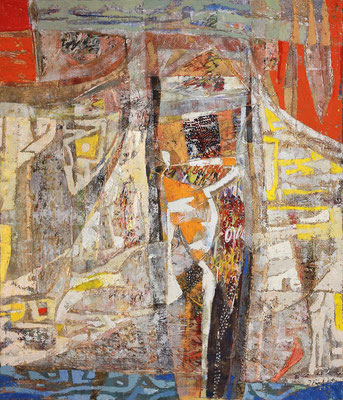 Ankunft, 2004, Mischtechnik auf Leinwand, 140 x 120 cm