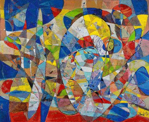Springbrunnen, 2011, Mischtechnik auf Leinwand, 90 x 110 cm