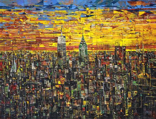 Abend in New York, 2019, Mischtechnik auf Leinwand, 100 x 130 cm