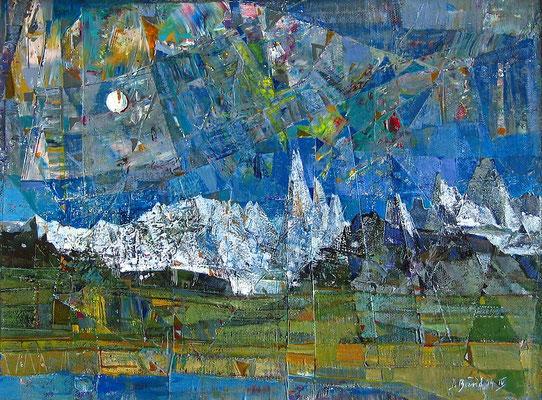 Torres del Paine, 2004, Mischtechnik auf Leinwand, 30 x 40 cm