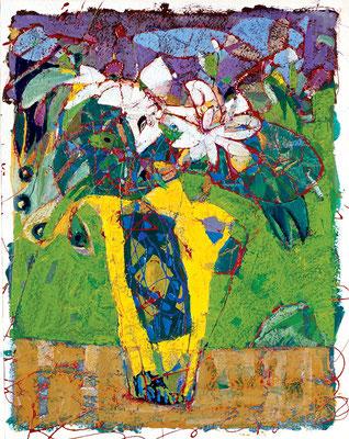 Strauß, 2004, Mischtechnik auf Papier, 50 x 40 cm