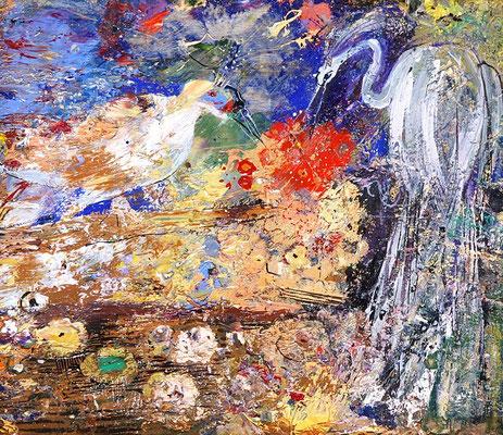 Paradiesvögel, 2008, Mischtechnik auf Holz, 20 x 22 cm