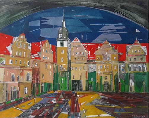 Merseburg, Schloßhof, Radierung, koloriert, 20 x 25 cm