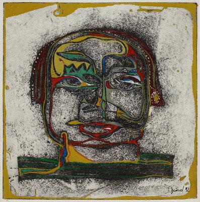 O.T., Radierung, koloriert, 13 x 13 cm