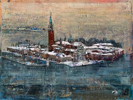 Venedig im Winter, 2010, Mischtechnik auf Holz, 30 x 40 cm