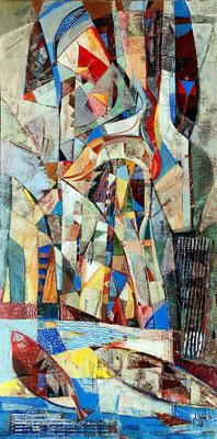 Im Reich des Haubentauchers, 2010, Mischtechnik auf Leinwand, 100 x 50 cm