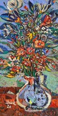 Blaue Blumen, 2020, Mischtechnik auf Holz, 30 x 15 cm