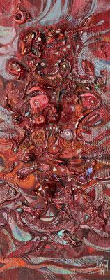 Florales Rot, 2021, Mischtechnik auf Holz, 40 x 16 cm
