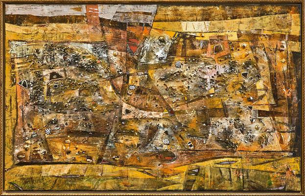 Normandie, 2010, Plastische Arbeit, Mischtechnik auf Leinwand, 60 x 110 cm