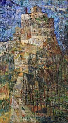 Burgberg in Sizilien, 2021, Mischtechnik auf Hartfaser, 47 x 26 cm