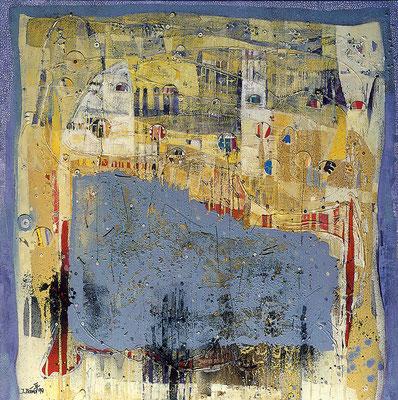 Wassermusik, 1999, Sand, Collage, Acryl und Öl auf Leinwand, 140 x 140 cm
