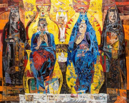 Audienz, 2009, Mischtechnik auf Leinwand, 160 x 200 cm