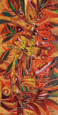 Blumengirlande, 2017, Mischtechnik auf Holz , 30 x 15 cm
