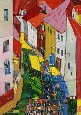 Altstadt, Radierung, koloriert, 30 x 21 cm