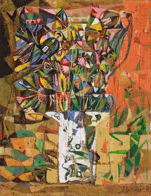 Strauß mit Gottesanbeterin, 2016, Mischtechnik auf Sperrholz, 67 x 52 cm